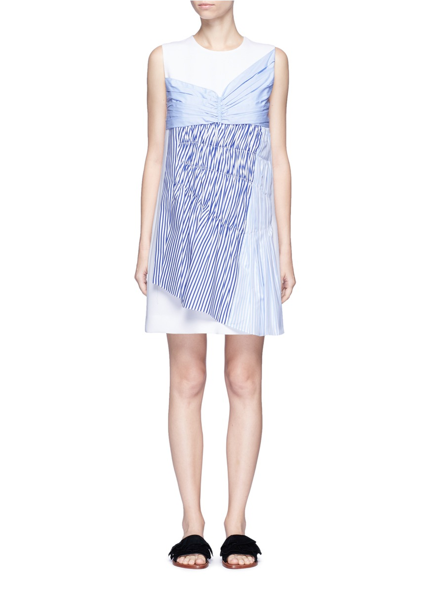 Gathered panel crepe shift dress by VICTORIA, VICTORIA BECKHAM