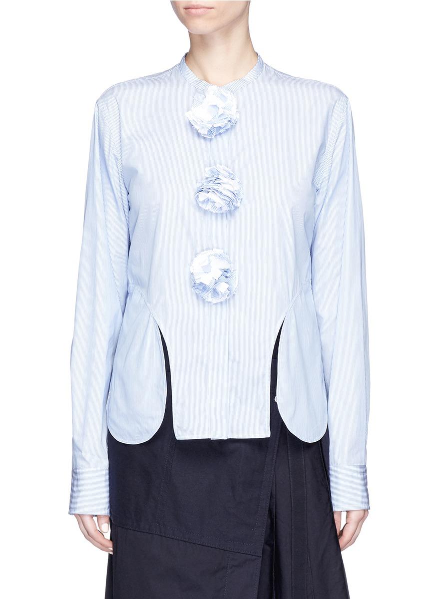 Pompom embellished cut out hem stripe shirt by Ports