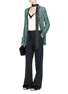 Lanvin Metallic tweed effect cardigan