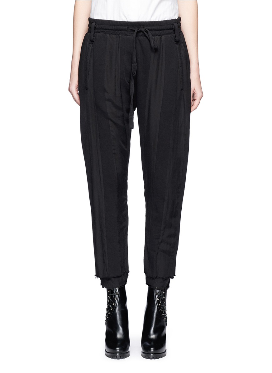 Raw cuff dropped crotch jogging pants by Haider Ackermann