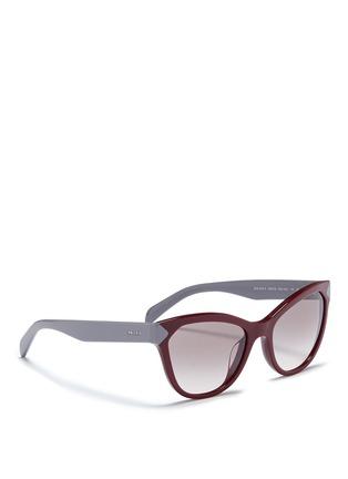 Figure View - Click To Enlarge - Prada - Colourblock acetate cat eye sunglasses
