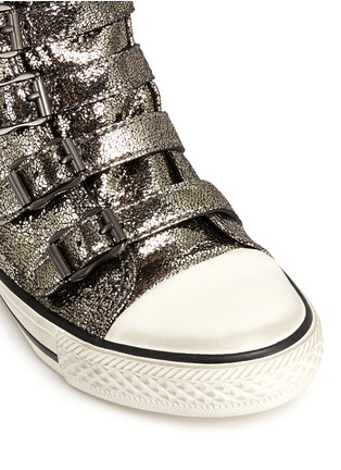 Detail View - Click To Enlarge - Ash Kids - 'Fanta' metallic leather kids sneakers