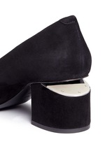 'Simona' cutout heel suede pumps