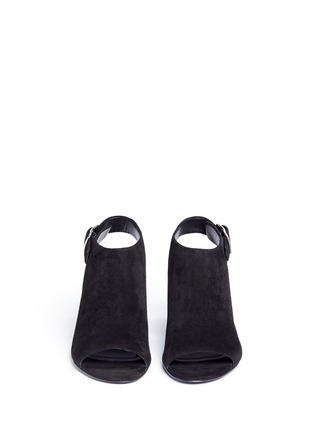 Front View - Click To Enlarge - Alexander Wang  - 'Nadia' cutout heel suede sandal booties