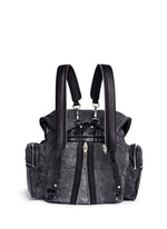 'Marti' crackled lambskin leather three-way backpack