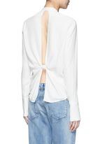 Cutout knotted back jacquard shirt