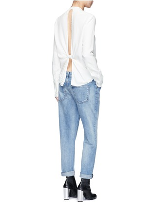 Figure View - Click To Enlarge - Helmut Lang - Cutout knotted back jacquard shirt