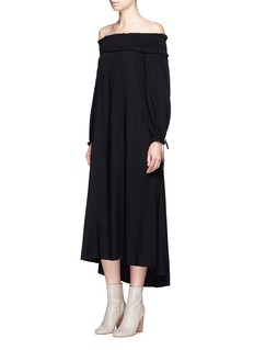 TibiFlocked dot off-shoulder drawstring dress