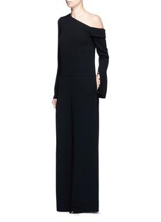 TibiOne-shoulder wide leg jumpsuit