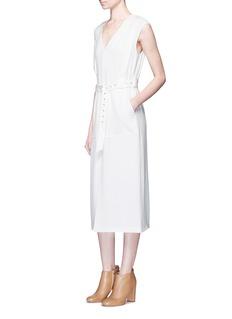 Tibi'Savanna' harness belt crepe midi dress