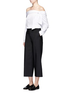 Tibi Luxe Tuxedo' off-shoulder bow top