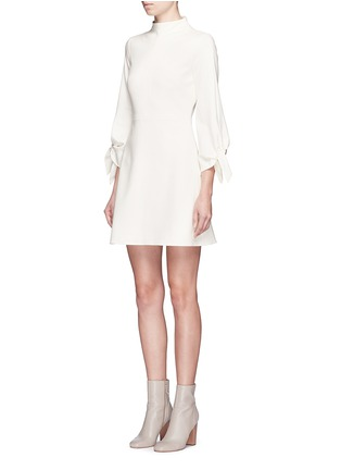 Front View - Click To Enlarge - Tibi - Tie sleeve mock neck dress