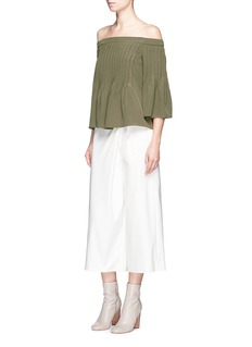 Tibi Pintucked off-shoulder silk top