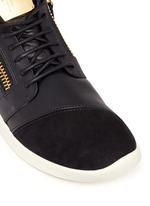 'Singleg' mid top combo leather sneakers