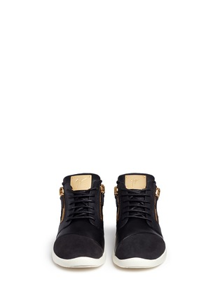 Front View - Click To Enlarge - Giuseppe Zanotti Design - 'Singleg' mid top combo leather sneakers
