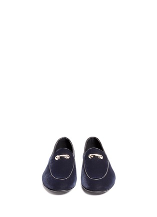 Front View - Click To Enlarge - Giuseppe Zanotti Design - 'Cut 15' clamp velvet loafers