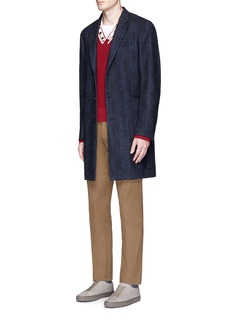 PS by Paul Smith Check plaid wool cotton blend coat