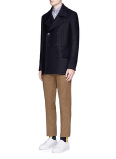 PS by Paul Smith Double breasted hopsack peacoat