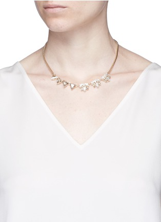 Figure View - Click To Enlarge - Anton Heunis - Asymmetric floral Swarovski crystal choker necklace