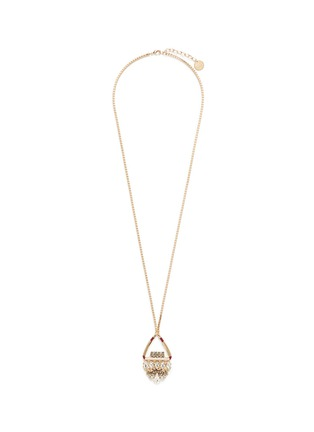 Main View - Click To Enlarge - Anton Heunis - Swarovski crystal floral leather pendant necklace