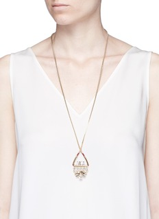 Anton HeunisSwarovski crystal floral leather pendant necklace