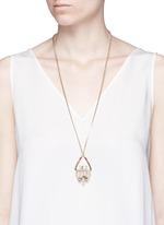 Swarovski crystal floral leather pendant necklace