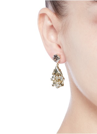 Figure View - Click To Enlarge - Anton Heunis - Swarovski crystal glass stone floral cluster drop earrings
