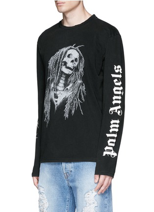 Front View - Click To Enlarge - Palm Angels - 'Metal Skull' Bob Marley print T-shirt