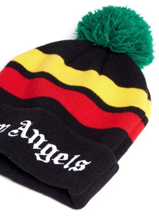 Detail View - Click To Enlarge - Palm Angels - 'Rastafari' stripe pompom beanie