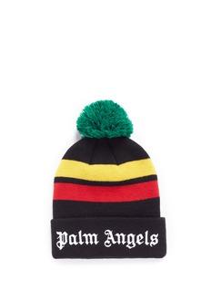 Palm Angels'Rastafari' stripe pompom beanie