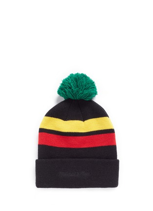Figure View - Click To Enlarge - Palm Angels - 'Rastafari' stripe pompom beanie