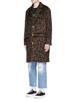 Leopard print mohair blend coat