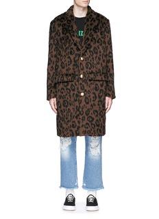 Palm AngelsLeopard print mohair blend coat