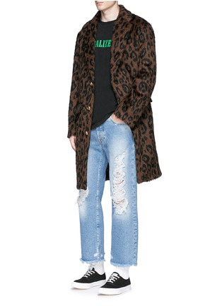 Figure View - Click To Enlarge - Palm Angels - Leopard print mohair blend coat