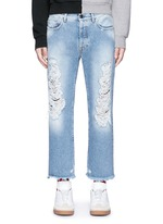 Vintage wash cropped ripped jeans