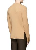 Zip cuff side split sweater