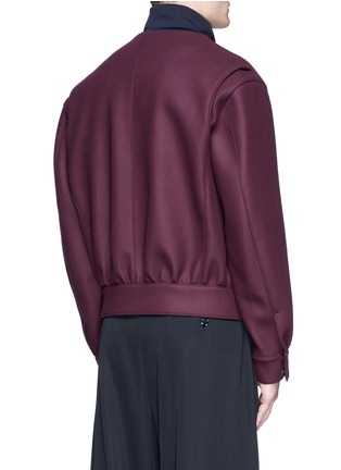 Back View - Click To Enlarge - Wooyoungmi - Jersey collar bonded wool bomber jacket