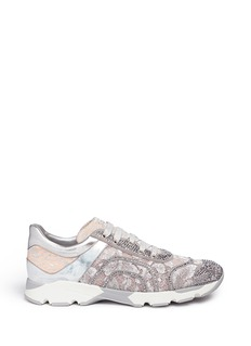 RENÉ CAOVILLAStrass pavé metallic lace sneakers