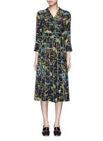 Dragonfly embellished tropical print silk dress