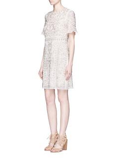 NEEDLE & THREAD'Linear Motif' floral bead embellished dress