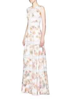NEEDLE & THREAD'Pink Peony' lace trim floral print gown