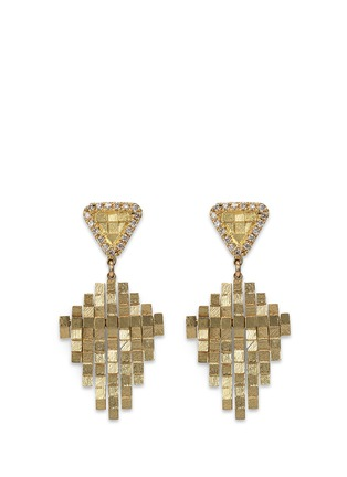 Main View - Click To Enlarge - Jo Hayes Ward - 'Kite Stratus Rain Drop' diamond 18k yellow gold earrings