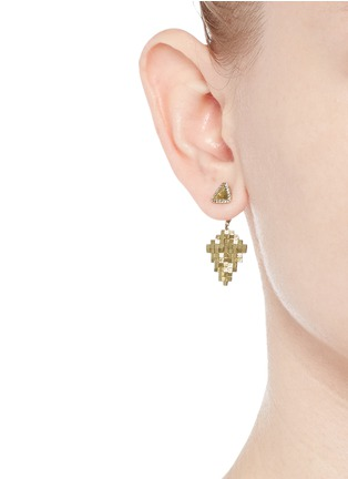 Figure View - Click To Enlarge - Jo Hayes Ward - 'Kite Stratus Rain Drop' diamond 18k yellow gold earrings