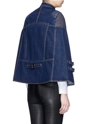 Back View - Click To Enlarge - Givenchy - Quilted shoulder denim cape jacket