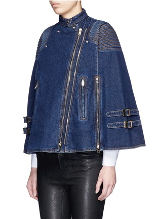 Front View - Click To Enlarge - Givenchy - Quilted shoulder denim cape jacket