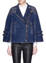 Quilted shoulder denim cape jacket