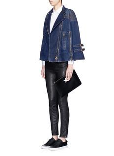 GivenchyQuilted shoulder denim cape jacket