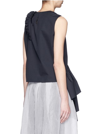 Back View - Click To Enlarge - Dries Van Noten - 'Clara Bis' ruffle pinstripe cotton-wool sleeveless top