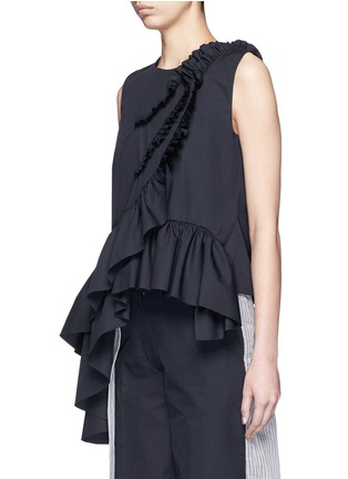 Front View - Click To Enlarge - Dries Van Noten - 'Clara Bis' ruffle pinstripe cotton-wool sleeveless top