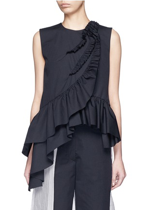 Main View - Click To Enlarge - Dries Van Noten - 'Clara Bis' ruffle pinstripe cotton-wool sleeveless top